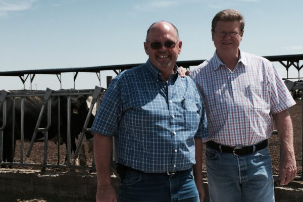 Pete Olsen showed Mark around his dairy farm.
